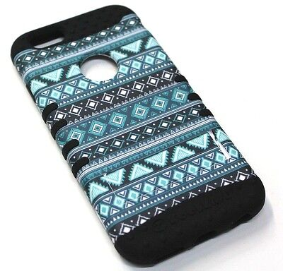 for iPhone 6 6s Cool Blue Tribal Hard & Soft Hybrid Rubber Koolkase Skin Case