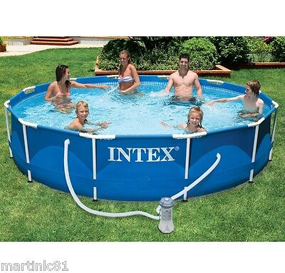 "Intex 12ft x 30"" Metal Frame Swimming Pool Filter Pump Outdoor Family Garden"