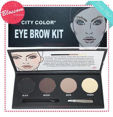 Brow Shaper Kit (City Color EYE BROW KIT 3x Powder, Wax,Tweezers, Shaper Brush - Eyebrow Set)