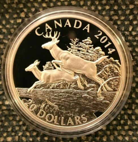 """WhiteTail DEER- SILVER 1oz Proof Canada $20 coin 2014 Deer """"MATES""""+ Mint Box"""
