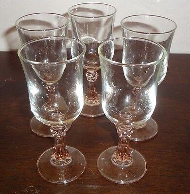 Lot 5 Vintage Clear pink aperitif Cordial Shot pedestal Glass Bar liquor glasses