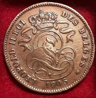 2 cent Centimes 1905 Frans * LEOPOLD II KM# 35, LA# BFM-10 Belgïe Belgique