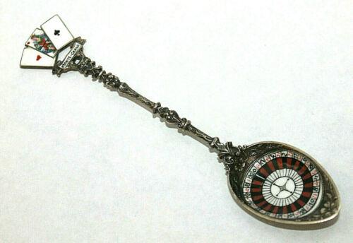 Antique 800 Silver Souvenir Spoon Monte Carlo Enameled Roulette Wheel Cards