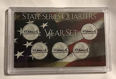 WASHINGTON STATE QUARTER DISPLAY CASE, 5 HOLE COIN HOLDER FROSTY PLASTIC   #0395