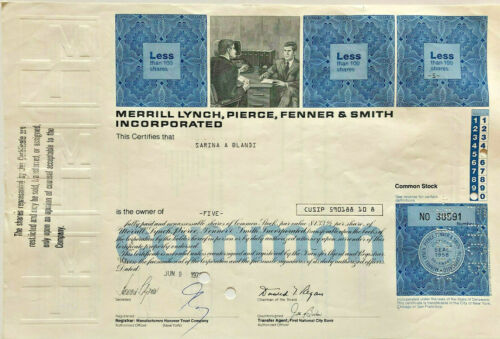 Merrill Lynch stock certificate now part of Bank of America
