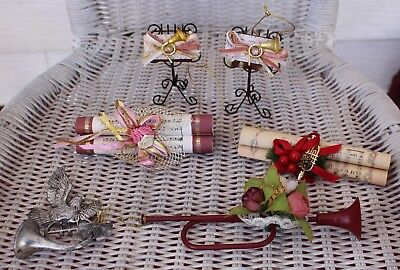 6 Lot Vtg Christmas Tree Ornaments Music Stands, Music Scroll Dove French (Scroll Ornament Stand)