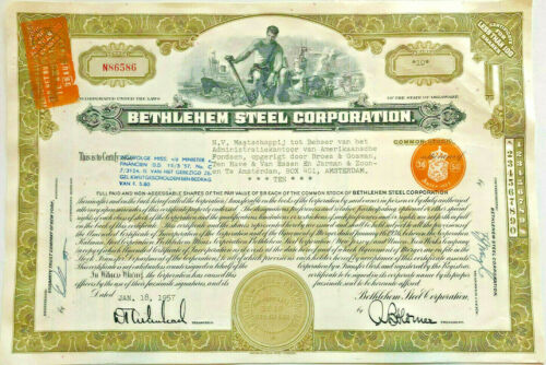 Bethlehem Steel Corporation > 1957 manufacturing company stock certificate