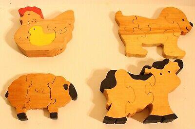 4 Old Wooden Children's Puzzles Vintage(?) Mild Wear