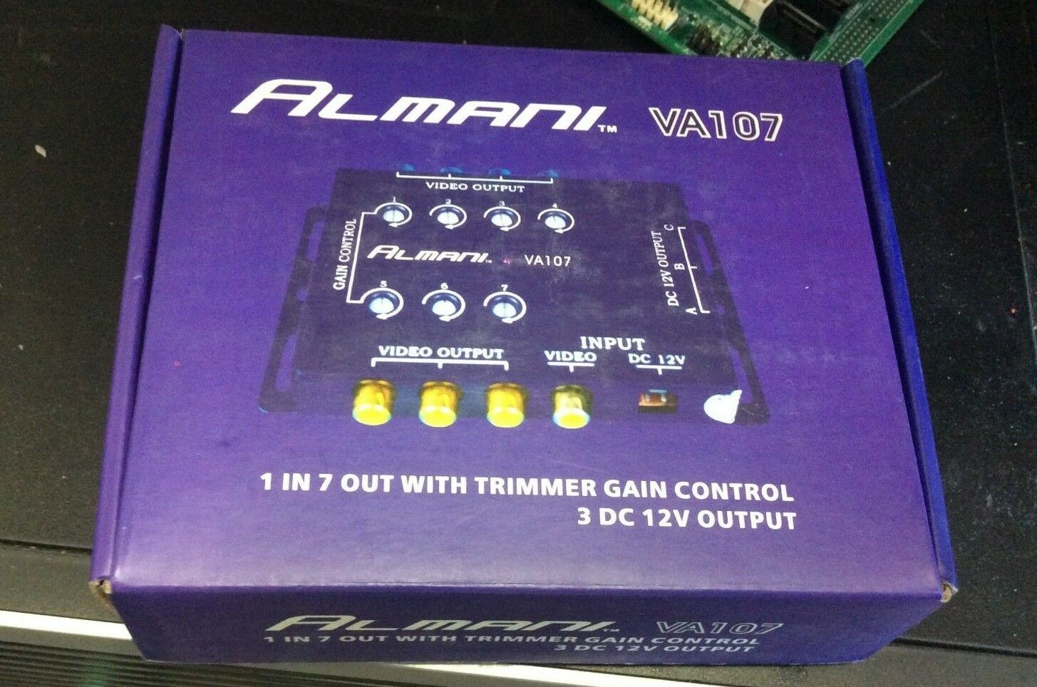 7 way video spliter with Trimmer Gain Control 3DC 12V Output ALMANI VA107