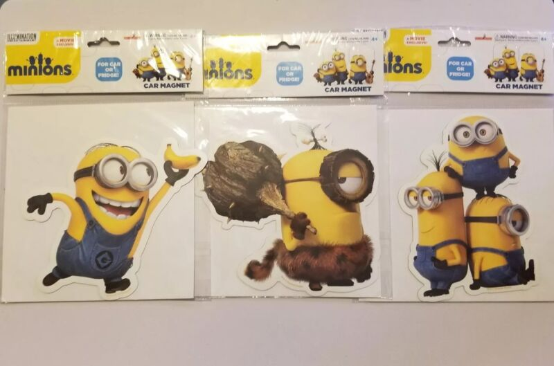 "Minions Movie Large Car Fridge Magnets  6"""
