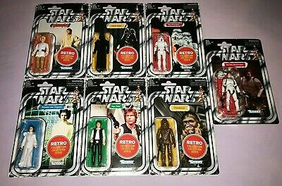 2019 Star Wars RETRO SET OF 7 STORMTROOPER  LUKE  CHEWBACCA  LEIA  VADER HAN x2 - Star Wars 7 Leia