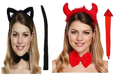 DEVIL CAT DRESS UP SET WITH EARS HEADBAND BOW + TAIL UNISEX HALLOWEEN ACCESSORY