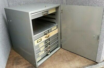 Lipshaw Metal Microscope Slide Drawer Cabinet Box 2400 Slide Cap. Eberbach
