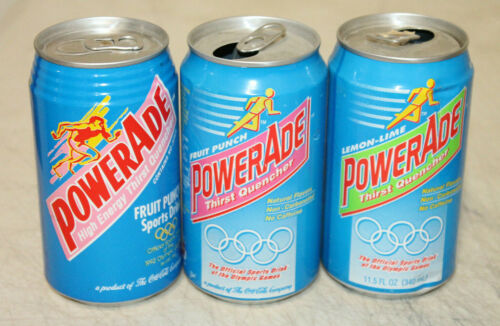 3 VINTAGE 1991 POWERADE SODA CAN OLYMPIC GAMES EMPTY