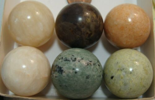 6 Marbles Semi-Precious Stone/Agate/Marble Collect Play Replacement 1-3/16