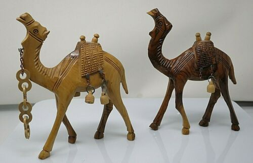 Hand Carved Wood Camels Nativity Animals Very Detailed Set Of 2