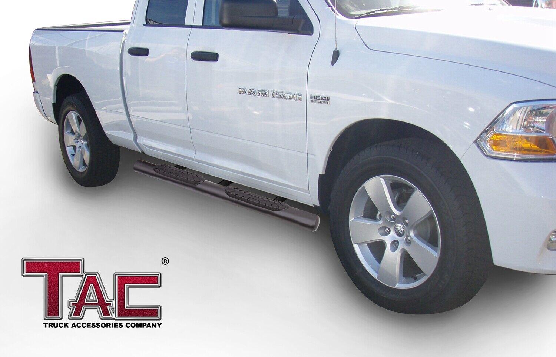 "2 pcs TAC Side Steps Running Boards Fit 2009-2018 Dodge RAM 1500 Quad Cab Truck Pickup 4/"" Oval Texture Black Side Bars Step Rails Nerf Bars Off Road Accessories"