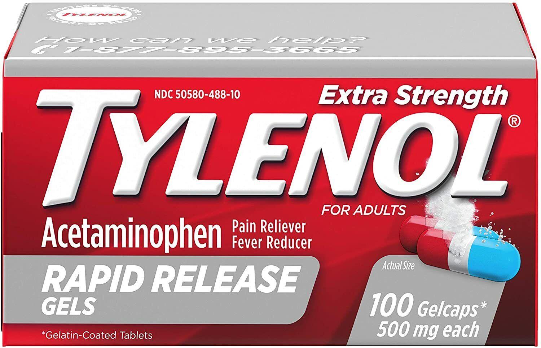 Tylenol Extra Strength 500mg Rapid Release Acetaminophen Pai