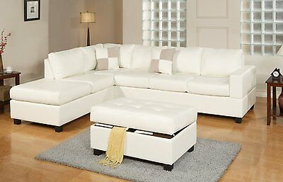 Modern Bonded Leather Reversible Sectional Couch - Sofa w/ Chaise Ottoman, White