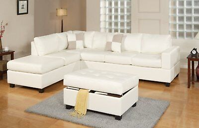 - Bonded Leather White Modern Reversible Sectional Couch Set- Sofa Chaise Ottoman