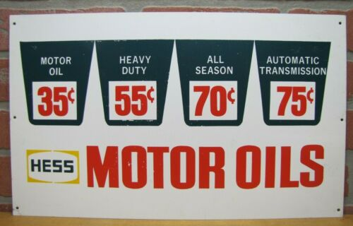 Vtg HESS MOTOR OILS Sign 35c 55c 70c 75c Gas Station Oil Prices Auto Truck Fluid