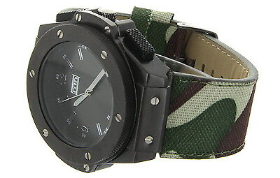 Army Bezel Wrist Watch - Jumbo Big Face All Metal Bezel Military Army Fabric Composite Wrist Watch Band