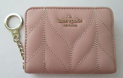 NEW NWT KATE SPADE QUILTED LEATHER ZIP AROUND WALLET - DANI BRIAR ROSY PINK