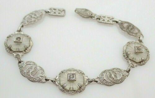 Antique Art Deco Rhinestone Camphor Glass Filigree Bracelet