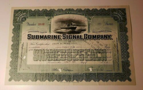 1922 SUBMARINE SIGNAL COMPANY Maine Stock Certificate with Transfer Stamps