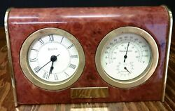 Bulova Royce Wood & Brass Table Clock Thermometer B2521 4.75 x 8 x3 Excellent