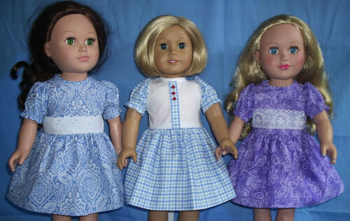 """18"""" inch Doll  Dresses ~ Fit American Girl Doll ~ 3 for $10 ~ NEW Handmade"""