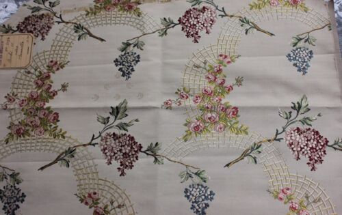 "Lovely Roses & Lilac French 19thC Silk Brocade Sample Fabric 16""L X 21""W"