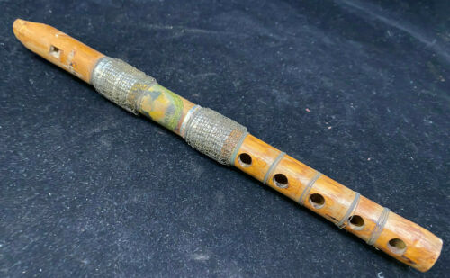 Wooden Recorder Wind Instrument Brown Wire Accents Vintage Ethnic Woman Pic Folk