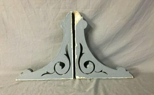 Pair Antique Wood Corbels Porch Brackets Shabby Vintage Old Chic 96-19B
