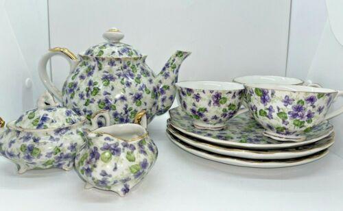COMPLETE VINTAGE Lefton China Violet Chintz Teapot, Creamer, Sugar, Cups, Plates