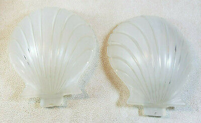 Set of 2 Vintage Wall Sconce Light Glass Shade Only Satin Clam Shell Shape