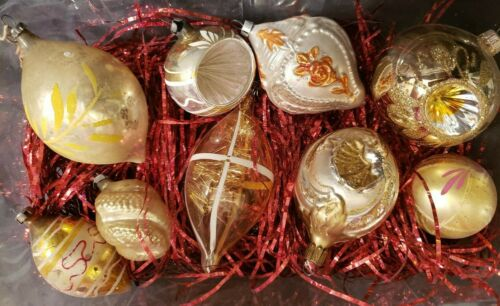 """9 VTG MERCURY GLASS ASSORTED CHRISTAS ORNAMENTS - 2"""" TO 4"""" TALL - SILVER & GOLD"""