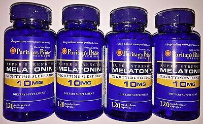 4 X Puritan's Pride Super Strength Melatonin 10 mg - 480 Capsules Sleep Aid