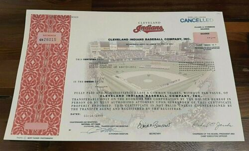 Cleveland Indians Baseball Company Stock Certificate Issued 1999