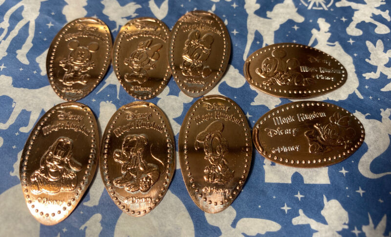 Magic Kingdom Disney World Mickey Minnie Goofy Donald Babies Pressed Penny Set