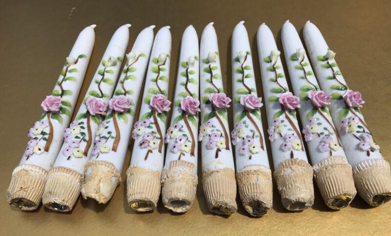 Lot 10 (!) Porcelain Hand Painted Candelabra Candlesticks Roses/ Floral Design
