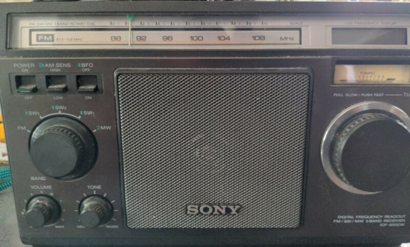 Vintage SONY ICF-6500W FM/SW/MW 5 Band Radio Receiver Short Wave Tested Works VG