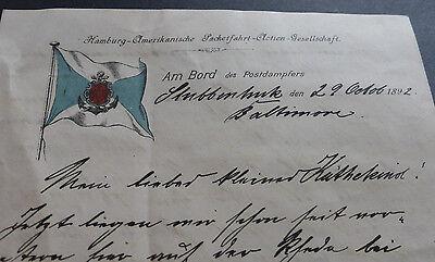 Postdampfer Stubbenhuk HAPAG Schiffspost Linie Stettin New York Baltimore 1892
