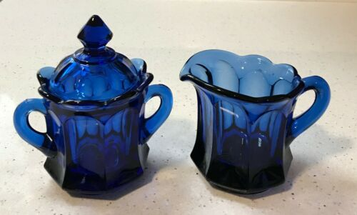 Vintage Creamer & Sugar w/ Lid Imperial Glass Old Williamsburg Deep Blue Ultra