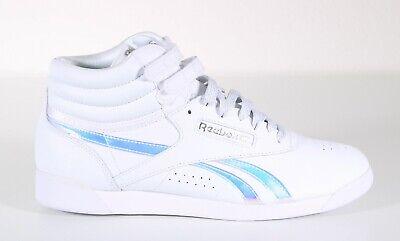 NEW Reebok Freestyle White Iridescent Aerobic Sneaker Shoes Womens Size 11