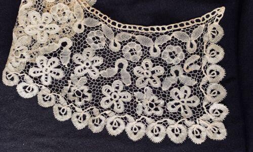 "antique lace collar handmade Honiton bobbin lace, cream/ecru 4.5"" w, lovely!"