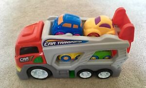 Red and grey Car transporter plastic toy truck