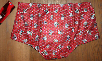 New TYR Mens Red SKULL Polymesh Trainer Swim Suit Briefs - USA Made - 36 / Large