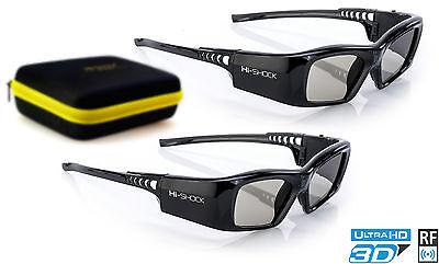 2x Hi-SHOCK® RF Pro 3D Brille Black Diamond für RF HDR Beamer | + Hardcase Etui