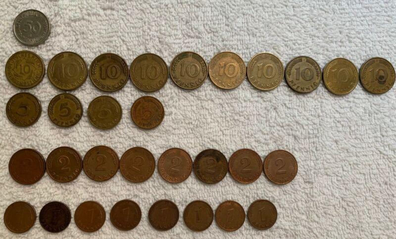 PFENNIG LOT OF 31 GERMANY BUNDESREPUBLIK DEUTSCHLAND COINS VF+ 50,10,5,2&1 Penny